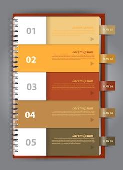 Vector cuaderno papel diseño plantilla infografía