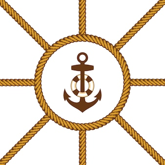 Vector de cuerda marinero lazo