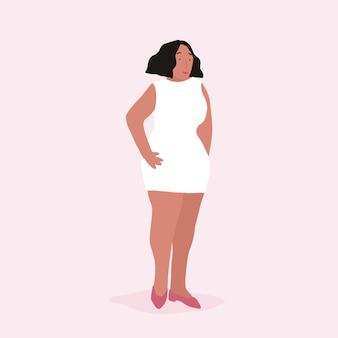 Vector de cuerpo completo de mujer afroamericana fuerte