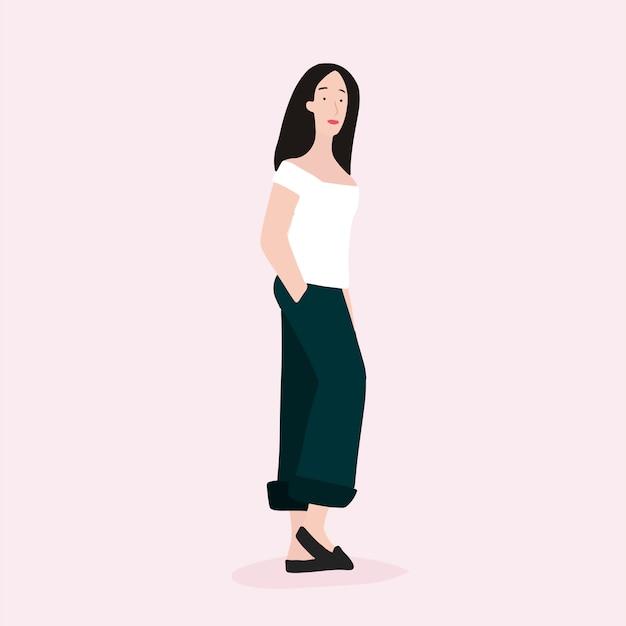 Vector de cuerpo completo de mujer asiática fuerte