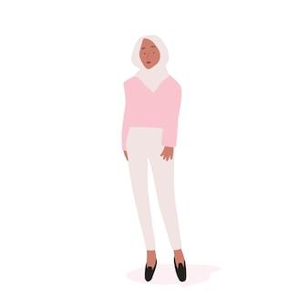 Vector de cuerpo completo de mujer musulmana fuerte