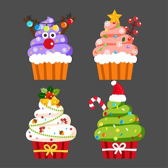 Vector de cupcakes de navidad.