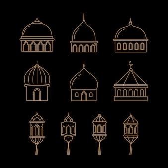 Vector cúpula y los iconos de linterna