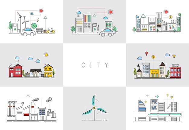 Vector de ciudad amigable de eco