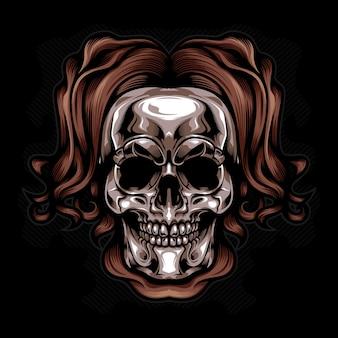 Vector de cráneo cabeza de plata