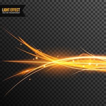 Vector de efecto de luz transparente con destellos dorados