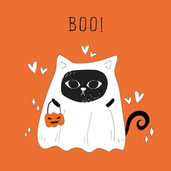 Vector de gato fantasma de halloween y calabazas doodle.