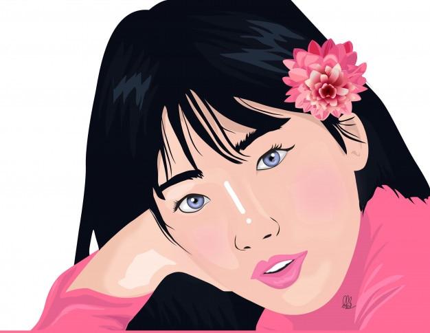 Vector de ilustración mujer de belleza