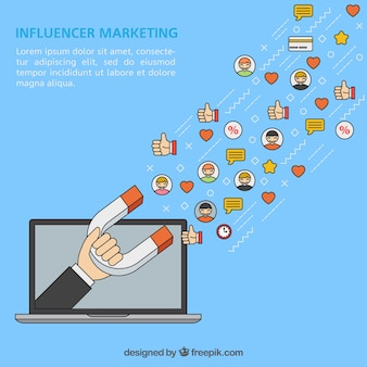 Vector de influencer marketing con portátil y magneto