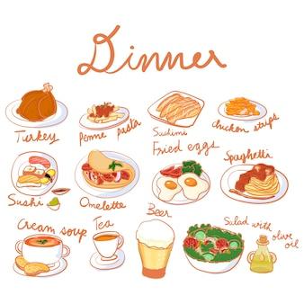 Vector de la colección de conjunto de cena