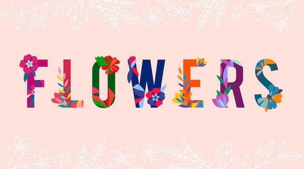 Vector de letras con motivos florales