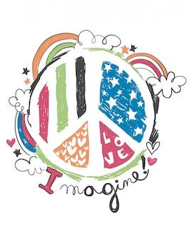 Vector de logotipo de paz dibujado a mano para impresión de camiseta
