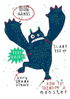 Vector de monstruo dibujado a mano para la impresión de camiseta