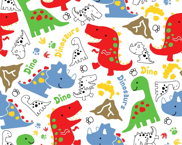 Vector de patrones sin fisuras con dibujos animados de dinosaurios