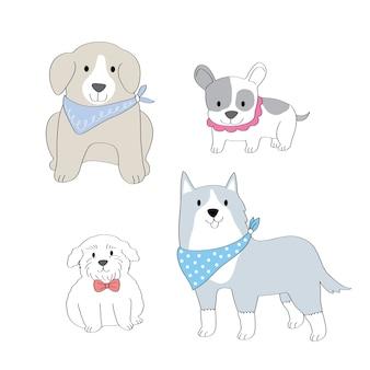 Vector de perros de moda lindo de dibujos animados.