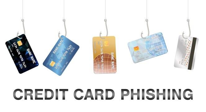 Vector de tarjeta de crédito de phishing de gancho de pesca real