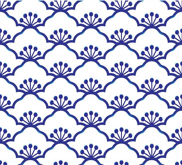 Vector de la decoración del arte simple del azul y del blanco de la porcelana inconsútil, azul chino, modelo de cerámica