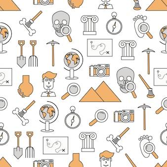 Vector delgada línea arte arqueología de patrones sin fisuras