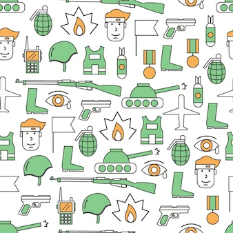 Vector delgada línea arte guerra de patrones sin fisuras