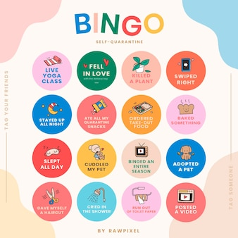 Vector de desafío de bingo de historia de redes sociales de auto cuarentena