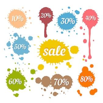 Vector de descuento y etiquetas de venta en manchas y salpicaduras en estilo retro