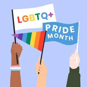 Vector de desfile del orgullo con el concepto de derechos lgbtq