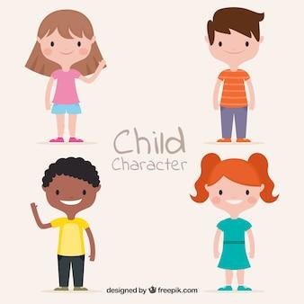 Vector para el día de los niños con niños flat