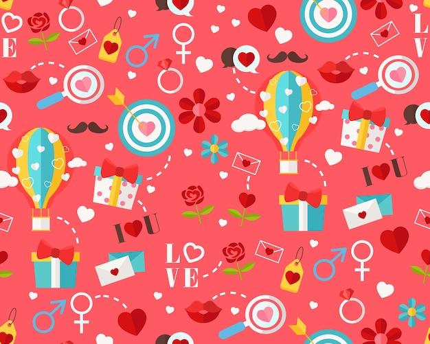 Vector el día de tarjeta del día de san valentín feliz plano inconsútil de la textura.