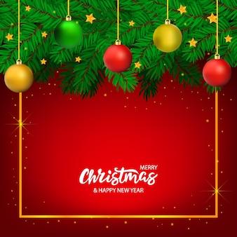 Vector dibujado a mano banner de navidad con letras y árbol con estrellas