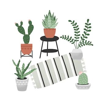 Vector dibujado a mano colección de plantas caseras.