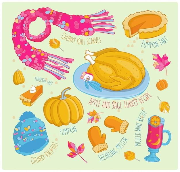 Vector dibujado a mano conjunto de otoño en color