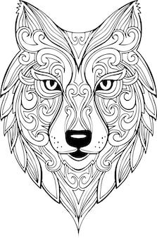 Vector dibujado a mano doodle ilustración de cabeza de lobo