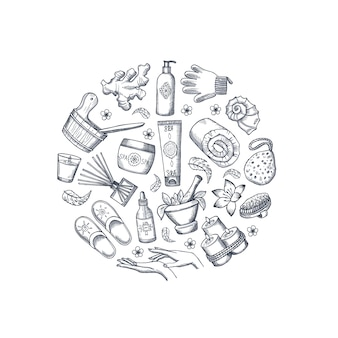 Vector dibujado a mano elementos de spa en forma de círculo
