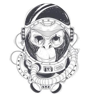 Vector dibujado a mano ilustración de un mono astronauta, chimpancé en un traje espacial