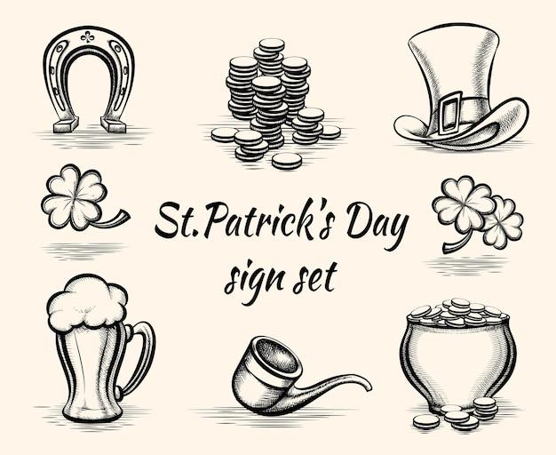 Vector dibujado a mano ilustración de signos del día de san patricio