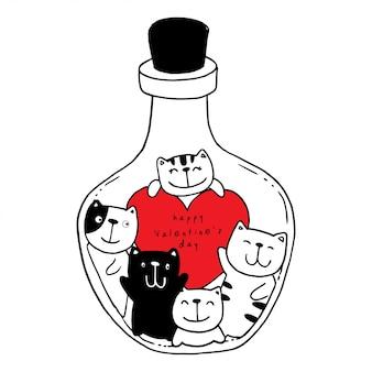 Vector dibujado a mano jarra con gato y corazones.
