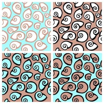 Vector dibujado a mano de patrones sin fisuras con conchas marinas