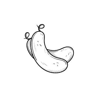 Vector dibujado a mano pepino contorno doodle icono. ilustración de boceto de alimentos para impresión, web, móvil e infografía aislado sobre fondo blanco.