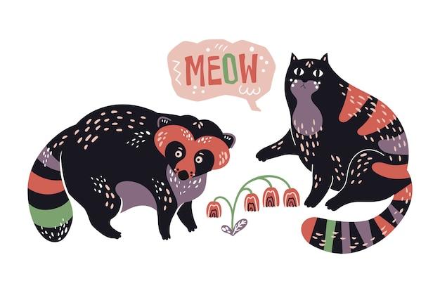 Vector dibujado mano plana mapache y gato con flores.