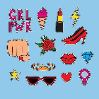 Vector dibujado a mano set pegatinas sobre el poder de las mujeres. ilustración divertida