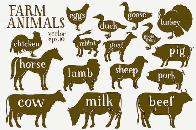 Vector dibujado a mano siluetas de animales de granja.
