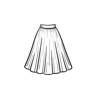 Vector dibujado a mano vestido contorno doodle icono. ilustración de boceto de vestido para impresión, web, móvil e infografía aislado sobre fondo blanco. Vector Premium
