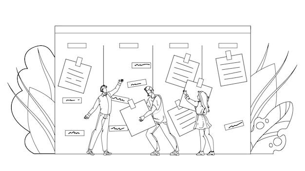 Vector de dibujo a lápiz de línea negra de empresarios ágiles realizando tareas laborales. hombres y mujeres trabajadores ágil tomando nota de trabajo desde el escritorio. empleados de personajes y papeles adhesivos en la ilustración de tablero kanban