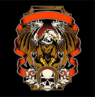 Vector de dibujo a mano águila y calavera