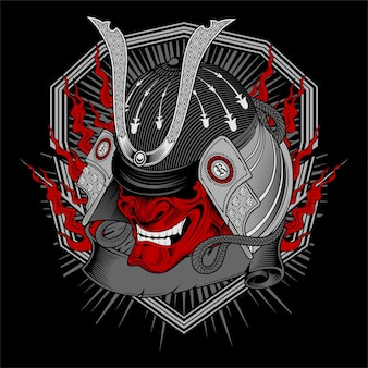 Vector de dibujo a mano cráneo samurai