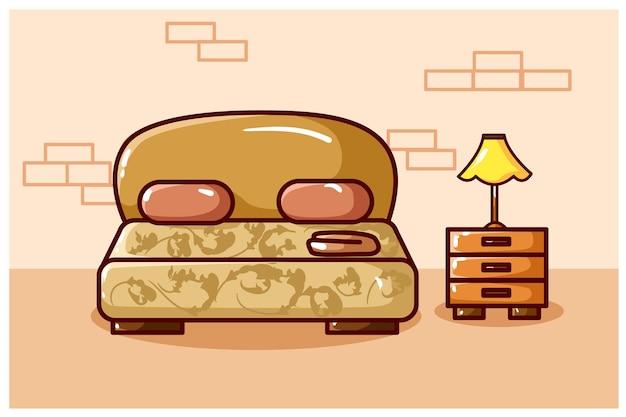 Vector de dibujo de mano de ilustración de cama de lujo