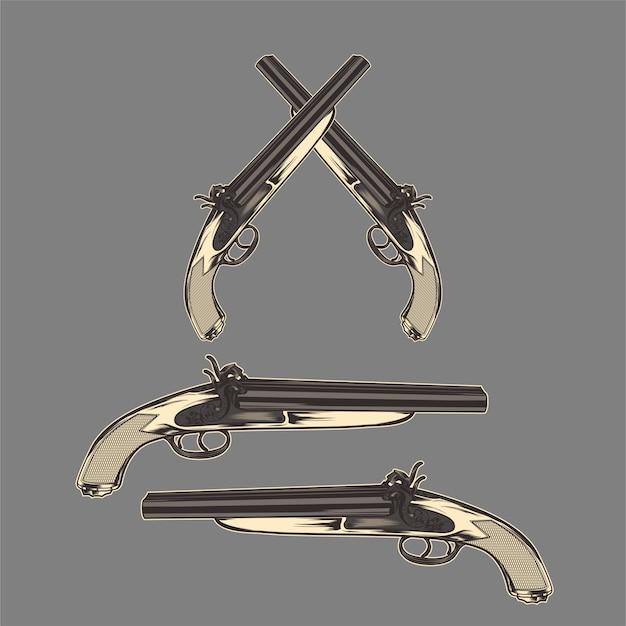 Vector de dibujo de mano vintage clásico pistola