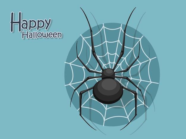 Vector de dibujos animados de araña halloween en el fondo