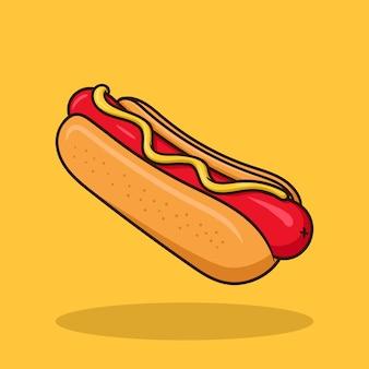 Vector de dibujos animados de arte de hotdog