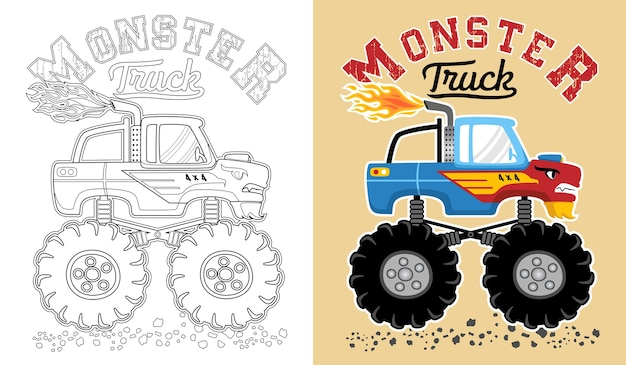 Vector de dibujos animados de camiones monstruo. libro de colorear o página